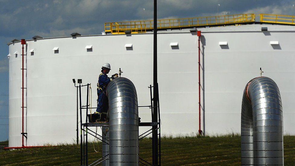 Some eight oil companies hold storage in Hardisty, Alberta