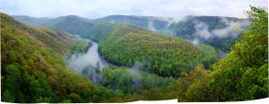 On the Greenbrier River, Spice Run easement from the cliff above.